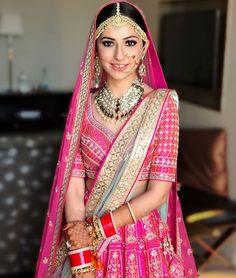 The heartland of India wears red bridal sarees. They are either Benarasis or the distinct aari-taari sarees with gota or zardosi borders. Sabyasachi Sarees, Lehenga Choli, Anarkali, Indian Sarees, Sharara, Salwar Kameez, Bridal Looks, Bridal Style, Bengali Bride