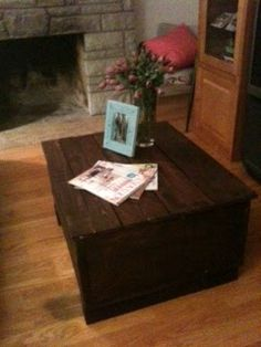 new sofa table made from recycled shipping crate, scaffold board