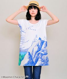 Moomin Round Neck Short Sleeve One-Piece(Moomin on the Rocks)