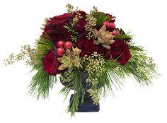 Christmas Floral Arrangement Christmas Flower Arrangements, Christmas Table Decorations, Floral Arrangements, Winter Christmas, Christmas Wreaths, Christmas Floral Designs, Holiday Fun, Holiday Decor, Flower Vases