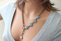 Swarovski Rivoli Necklace Lariat Style by crystalglowdesign