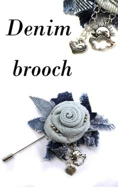 Simple Fabric Crafts You Can Make From Scraps - Diy Crafts Denim Flowers, Fabric Flowers, Jewelry Crafts, Handmade Jewelry, Brooch Corsage, Denim And Diamonds, Fabric Brooch, Denim Crafts, Textiles