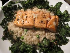 Salmon with Kale on Pea Risotto for Good Friday.