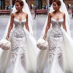 aliexpress Cheap lace wedding dress designer, Buy Quality lace long sleeve wedding dress directly from China lace applique Suppliers: Gorgeous Elegant OWD805 Sexy Mermaid Beaded Lace and Tulle 2 in 1 Removable/Detachable Train Weddin