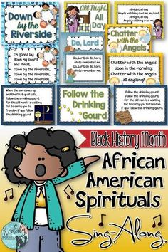 African American Spirituals Sing Along. Black History Month is celebrated in the US and Canada in the month of February. During this month, I highlight many African American songs and spirituals in my music classes. This African American Spirituals Sing-Along will provide you with illustrated lyric slides that you can project for each song as well as sheet music that you can print (printer friendly) or project.