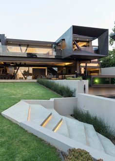 Imposing concrete, glass and steel residence in South Africa is part of Interior architecture design - This sumptuous modern residence was designed by Nico Van Der Meulen Architects, located in Johannesburg, Bedfordview, South Africa Contemporary Architecture, Amazing Architecture, Interior Architecture, Landscape Architecture, Landscape Design, Residential Architecture, Contemporary Stairs, Contemporary Interior, Sustainable Architecture