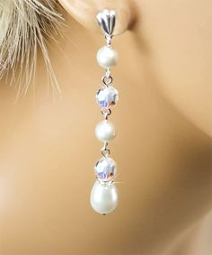 White Swarovski Pearl Bridal Earrings  by PixieDustFineries