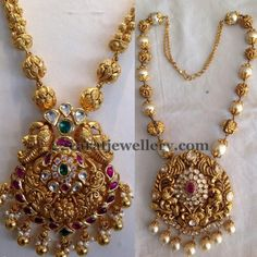 Left: Antique work gold beads long chain with floral theme and leafy theme embellished peacock pendant with rubies and emeralds all over....