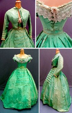 Apple green century silk dress comprising skirt, bodice, jacket and belt. Bodice trimmed with cream lace and bead detail. Jacket has silk thread-covered buttons.-- The jacket component of the piece is actually an alternate bodice for day Civil War Fashion, 1800s Fashion, 19th Century Fashion, Victorian Fashion, Vintage Fashion, Victorian Era, Historical Costume, Historical Clothing, Vintage Gowns