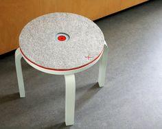 IKEA stool + wool felt + embroidery (through drilled holes) = pure genius