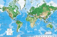 Wall Mural Wallpaper Art with World Map