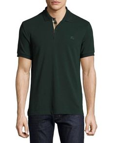 BURBERRY Short-Sleeve Oxford Polo Shirt, Racing Green. #burberry #cloth #
