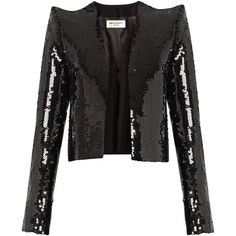 Saint Laurent Sequin-embellished cropped jacket ($4,590) ❤ liked on Polyvore featuring outerwear and jackets