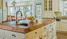 Wood Countertops Burmese Teak Kitchen Island with Super Double Roman Ogee Edge. Design by Venegas… Wooden Countertops, Butcher Block Countertops, Kitchen Countertops, Butcher Blocks, Kitchen Cabinets, Blue Countertops, White Cabinets, Kitchen Island With Sink, New Kitchen