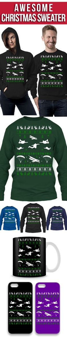 Sky Diving Ugly Christmas Sweater! Click The Image To Buy It Now or Tag Someone You Want To Buy This For. #skydiving