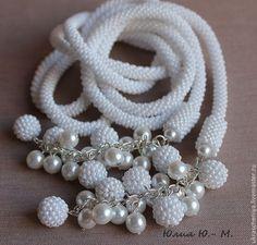 """Купить Лариат """"Белый танец"""", жгут из бисера, украшение на шею - белый, лариат, лариат из бисера"""