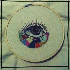 Embroidery eye so far - Lady Orlando