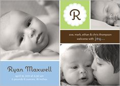 Happy Baby Boy Birth Announcement  by Stacy Claire Boyd