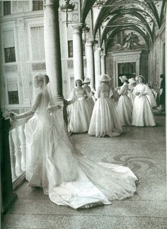 Grace Kelly and her bridesmaids wait before her wedding to Prince Rainier III in Monaco. April 18, 1956.