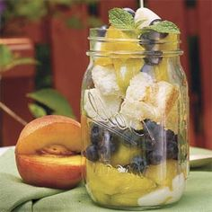 Another good use for all those canning jars: Peach-and-Blueberry Parfaits | MyRecipes.com