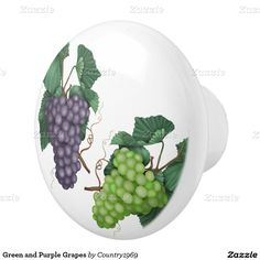Green and Purple Grapes Ceramic Knob