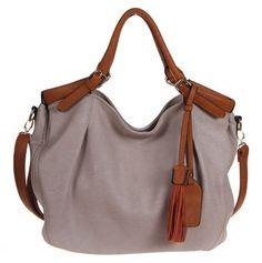 Gray & Brown Tassel Handbag.