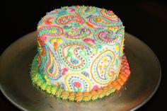 Rainbow paisley cake