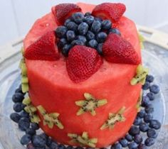 The Healthiest Birthday Cake Ever: Watermelon, strawberries, blueberries, and kiwis.