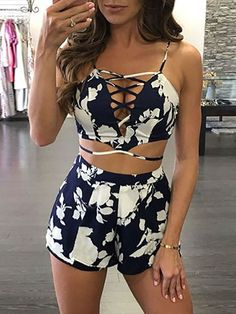 Stylish Lace-up Floral Plunge Twinset