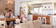 Family mealtime at home stock photo. Image of kids, lounge - 54733600 Thick Curtains, House Layouts, Furniture Styles, Home Insurance, Traditional House, Open Plan, Home Buying, Dining Area, Living Spaces
