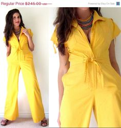 SUMMER SALE 20% off Vintage 70s 80s School Bus Yellow Bellbottom Jumpsuit (size small, medium)