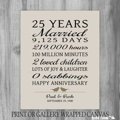 25 Year Anniversary Gift 25th Art Print Personalized For Pas Wife Funny
