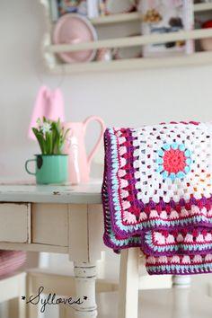 crochet , blanket , love the colours