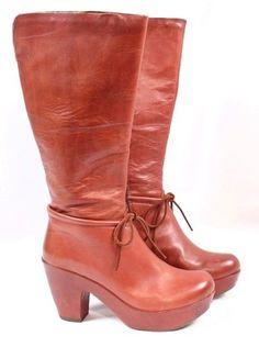 KORK-EASE Romy Canyon Brick Rust Red Leather Knee High 70s Platform Boot Women 8 #KorkEase #KneeHighBoots