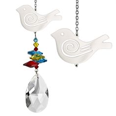 Partridge in a pear tree? Crystal Fantasy Suncatcher - Bird, from the makers of Woodstock Chimes. Handmade in the UK, $21.95.