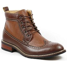 Ferro Aldo MFA-806278 Men's Brown Lace Up Wing Tip Perforated Dress Ankle Boot *** For more information, visit image link.