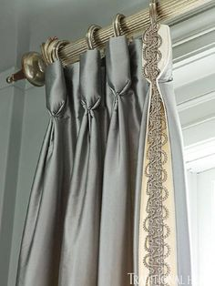 Cream and gray drapery panels from Scalamandré Curtains And Draperies, Drapery Panels, Panel Curtains, Valances, Bedroom Drapes, Cornices, Striped Curtains, Burlap Curtains, Curtains Living