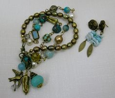 Pearl, turquoise & bronze 3 strand bracelet & earrings Donna Ann Designs @ flickr.com