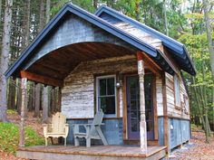 50 Sq ft cabin with kitchen bathroom, living nook & Queen bed.