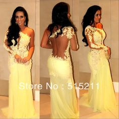 Sexy One Shoulder See Through Lace Yellow Mermaid Prom Evening Dress Vestidos Formales 2014 $139.99