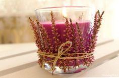 świecznik DIY-ozdobiony-wrzosem
