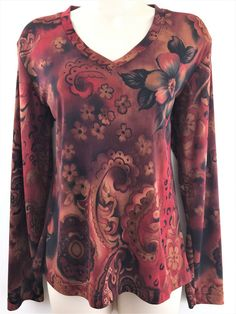 Chicos Travelers 1 Top Floral Animal Print V-Neck Knit Blouse Small 8 10 USA #Chicos #KnitTop #Casual
