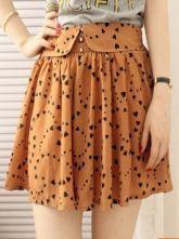 Brown Heart Print Button Waist Skirt Shorts £16.08