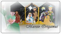 """Presépio de origami em tríptico, por Marcio Jorge Galvão Origamus - Niterói / Rio de Janeiro / Brasil. """"Fiz este presépio para a minha origamiga secreta do """"Natal com origamigos ano 7"""" Eliete Cumin de Curitiba / Paraná / Brasil."""""""