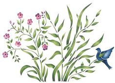 This grass with bird and flower wall stencil is perfect to stencil at the base of one of our tall trees or in a garden. Tree Stencil For Wall, Stencil Painting On Walls, Plant Painting, Tree Wall, Tall Flowers, New Print, Flower Wall, Flower Tattoos, Blue Bird