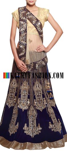 Get this beautiful lehenga here: http://www.kalkifashion.com/navy-blue-velvet-lehenga-adorn-in-sequence-and-kundan-only-on-kalki.html Free shipping worldwide.