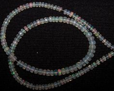 """46 ct Metallic Fire Transparent Ethiopian Welo Opal Faceted beads 4-6 MM 16 """" NR"""