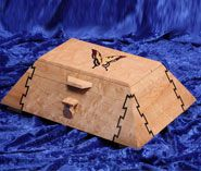 Pyramid shaped box with inlaid dovetail joinery