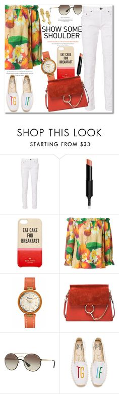 """""""Get the look"""" by vkmd ❤ liked on Polyvore featuring rag & bone, Givenchy, Kate Spade, Isolda, Salvatore Ferragamo, Chloé, Prada, Soludos, Sydney Evan and showsomeshoulder"""