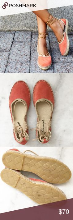 """Free People Coral Espadrilles • Buttery-soft suede  • Thin wraparound laces that flatter and lengthen the leg. • 3/4"""" platform  • Wraparound straps. • Leather upper/synthetic lining/rubber sole • EU 38 fits like US (7.5) • in new, unworn condition Free People Shoes Espadrilles"""